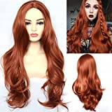 BLUPLE Natural Wavy Hair Wigs Copper Red #350 Heat Resistant Synthetic Hair Wigs for Women 22 inches(No Lace Wig)