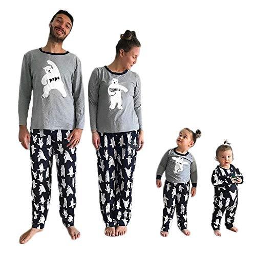 Greetuny 2pcs Pijamas de Navidad Familia Conjunto Algodón Impresión del Oso Blanco Navideños Familiares Fiesta Ropa para Dormir Iguales