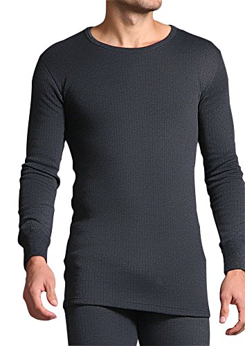 HEAT HOLDERS - Herren 0.45 tog Winter warm Baumwolle Thermo unterwäsche Langarm unterhemd (Large: 104-111 cm Burst, Grau)