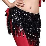 Jupe Danseuse Orientale Femmes Paillette Costume Gland Emballage Jupe Club Mini-Jupe Court Carnaval Fête Festival Prairies Sunenjoy (Taille Unique, Noir)