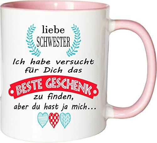 Mister Merchandise Becher Tasse Schwester Kaffee Kaffeetasse liebevoll Bedruckt Geschenkidee Familie Weiß-Rosa