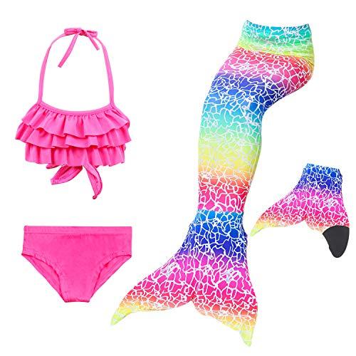 Paisdola Meerjungfrau Schwanz Swimmable Princess Bikini Set Badeanzug Kostüm Meerjungfrau Outfit für Mädchen mit Monoflosse (DH32-48S,120)