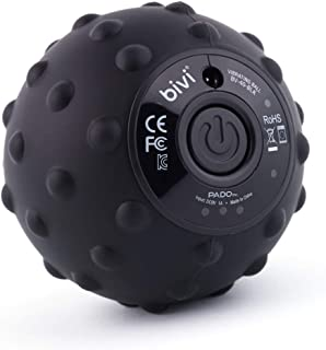 Bivi 4-Speed Vibrating Massage Ball - Therapy Ball for Myofascial Release, Replaces Lacrosse Ball Trigger Point Massage, Plantar Fasciitis, Foot, Back, Legs, Deep Tissue Massage Therapy (Black)