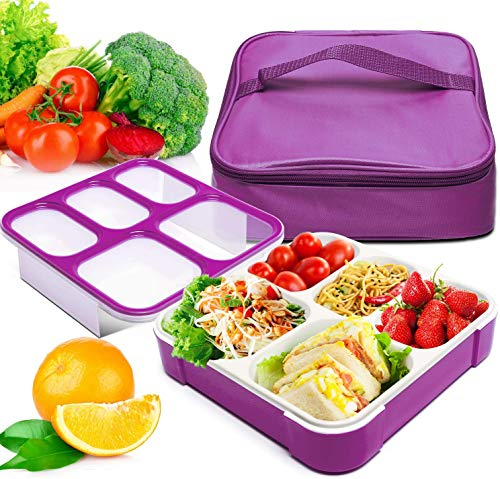 Bento Box, Fun Life Leak Proof Bento Lunch box with 5 Portion Control Compartments, Includes Matching Insulated Lunch Bag, Ideal Box Lunch for Kids, Teens/Adults, Eco-Friendly (Purple)