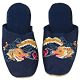 Handmade Embroidered Dragon Chinese Women's Cotton Slippers, Blue, 4.5 Narrow