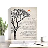 EE Cummings Personalized Bare Tree Winter Wedding Vintage Background Personalized Tin 10 Year Anniversary Gift on Paper, Canvas or Metal #1301