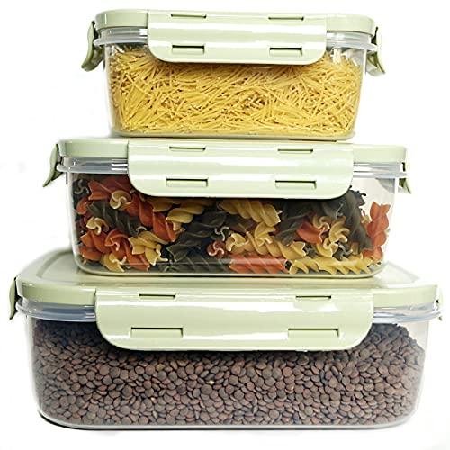 Set 3 Recipientes plástico para Comida, Tupper Cocina hermético, tuppers con Tapa para microondas, tupperware Horno, Taper Almacenamiento congelador. Fiambrera, tupperware, Taper (Verde)