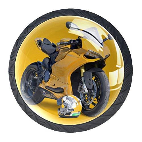 Tiradores de cristal para cajones Casco de moto amarillo Pomo redondo para...
