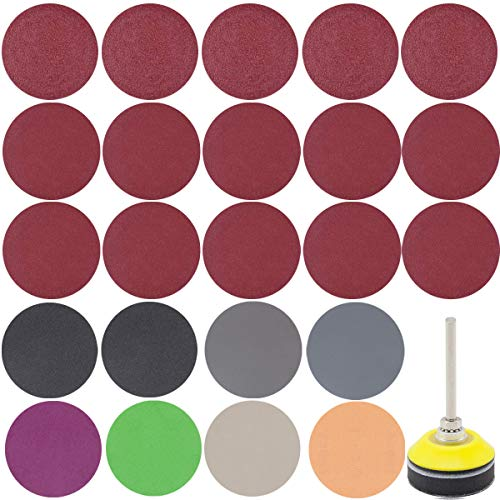 360 PCS 2 Inch Sandpaper, GOH DODD Wet Dry Sander Sheets with Backer Plate 1/4' Shank and Soft Foam Buffering Pad, 60 to 10000 Grits Grinding Abrasive Sanding Disc for Wood Metal Mirror Jewelry Car