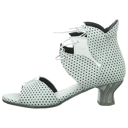 Simen Damen 0161A-9DU Weiße Glattleder Sandalette Größe 36 EU Mehrfarbig (Weiß Schwarz Kombi)