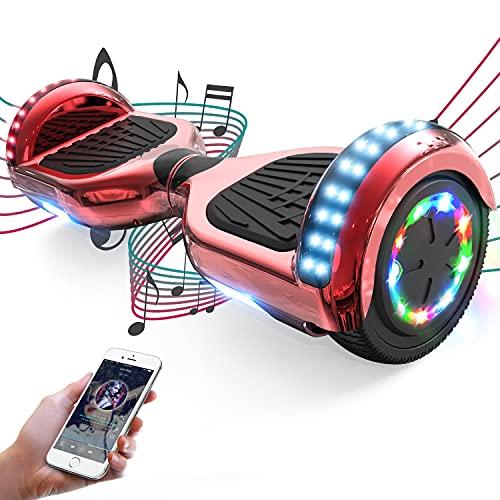FUNDOT Hoverboards,Hoverboards autoequilibrante de 6.5 Pulgadas, Hoverboards con Hermosas Luces LED, Hoverboards con Altavoz Bluetooth, Regalo para niños