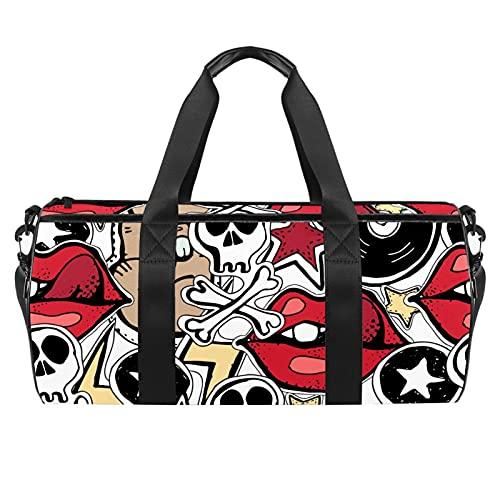 Crazy Punk Rock Abstrac Pattern Sports Gym Bag Bolsa de viaje cilíndrica con bolsillo mojado, bolsa de entrenamiento ligera con correa de hombro para hombres y mujeres
