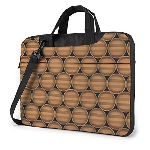 Bier Rotwein Holzfässer Laptoptasche Notebook Computer Schutzhülle Anti-Kratzer Handtasche Umhängetasche für School College