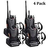 Baofeng Walkie Talkies Long Range FRS/GMRS Two Way Radios with Earpiece 4 Pack UHF Handheld Reachargeble BF-888s Walkie Talkie for Survival Biking Hiking Li-ion Battery and Charger Included