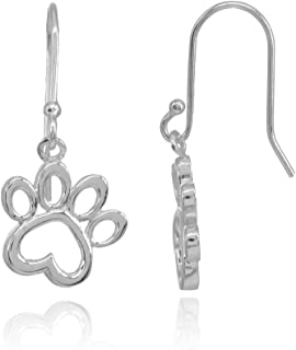Sterling Silver Polished Animal Dog Paw Heart Dangle Earrings