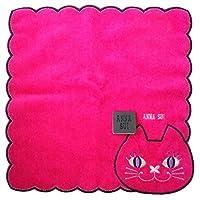 (アナスイ) ANNA SUI タオルハンカチ ハンカチ ハート 黒 ブラック 桃 ピンク 白 ホワイト コスメ 猫 キャット 刺繍 コットン ハンカチーフ (ホワイト)