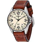 Torgoen T25 GMT Cream Pilot Watch | 41 mm - Brown Vintage Leather Strap