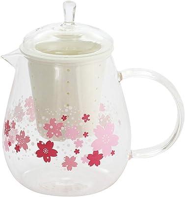 風華 さくら 耐熱ガラス 温感 ポット 660ml 茶こし付き ほんぢ園 0-9265