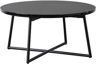 岩附(IWATSUKI) リビングテーブル 円形 丸型 ラウンド 鏡面 スチール ブラック 幅70cm ローテーブルシンプル おしゃれ 完成品 Pouta ポウタ IWT-632BK