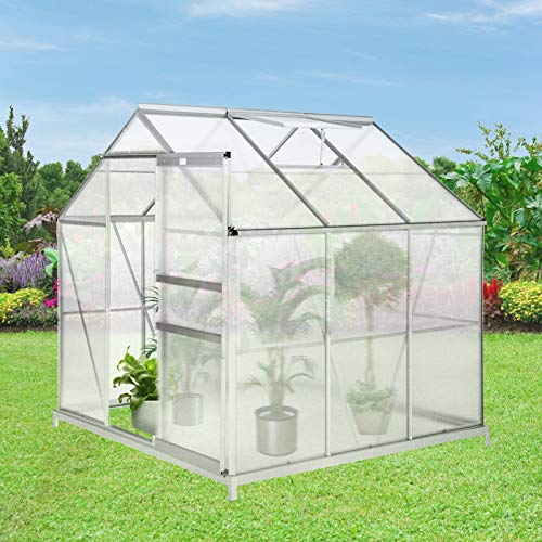 vantiorango 6 x 6 x 7 FT Winter Greenhouse for Outdoors, Walk-in Aluminum Frame Green House Kit, Large Hot House Polycarbonate Greenhouse for Plants Garden (Silvery)