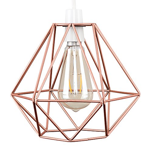 MiniSun – Retro Lampenschirm aus Metall im offenen Korbdesign, Kupfer – Drahtkorb Lampenschirm im Käfig Stil – Draht Lampenschirm Kupfer – Vintage Metall Draht Käfig Lampenschirm