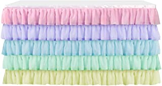 Table Skirt Layered Dress for Cake Table Dedoration on Weddings, Banquets, Birthday Party Multi-Color (14 ft)