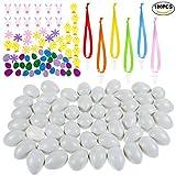 Faburo 50 Deko-Eier mit 50 Schaumstoff Sticker und 50 Seidenbänder