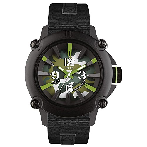 eNe Herren Analog Quarz Uhr mit Gummi Armband 640000108