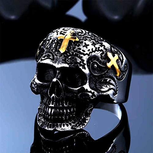 Stainless Steel Gothic Skull Cross Finger Ring, Retro Pattern Lifelike Prayer Ring, Punk Rock Locomotive Or Biker Lucky Rings,Gold,8