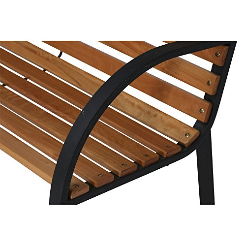 Siena Garden 2er Bank Menorca, 122x62x80cm, Gestell: Stahl, pulverbeschichtet in schwarz, Fläche: Hartholz in natur - 7