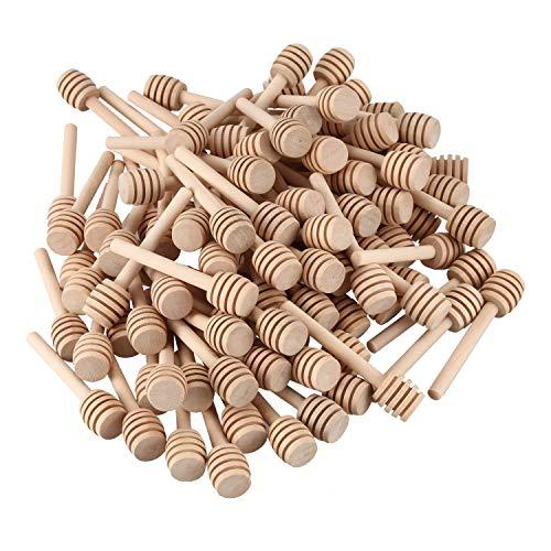REFURBISHHOUSE 100 Pack De Mini 3 Pouces en Bois Miel Bâtons De Louche, Emballés Individuellement, pour La Distribution De Bocal De Miel Distribuent Drizzle Miel, Faveurs De Fête De Mariage