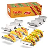 Taco Holder Stand - Set of 4 - Oven & Grill Safe Stainless Steel Taco Racks With Handles - Fill & Serve Tacos With Ease - Taco Trays by Fiesta Kitchen
