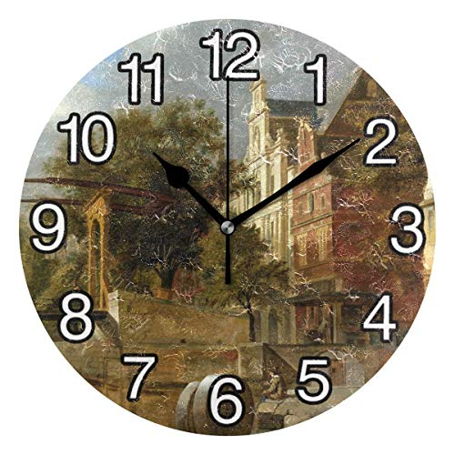 Large Decorative Round Wall Clock 10 Inch Silent Non Ticking Battery Operated ( Hbmb Drawbridge)