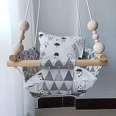 Hb. YE 100% Craft Wiszące Krzesło Baby Canvas Swing Dzieci Indoor Hanging Seat Outdoor Hammock Birthday Gift Decoration Lieb ((z perłami + poduszka) Beige Grey - Trójkąt)
