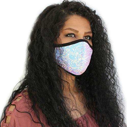 Shining Facemask for Women Ladies Fashion Face Covering with Bling Bling Sequin Glitter for Weding Party Bar Pub Festival Stylish Facemask