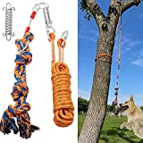 AMFOSNEL Interactive Dog Rope Toy for Outdoor Tug of War & Exercise Pull & Yard Play for Small, Medium, Large Dogs - Dog Toy Set with Spring Pole, 18 ft Rope, Dog Rope Toy, Dog Tie Out Cable