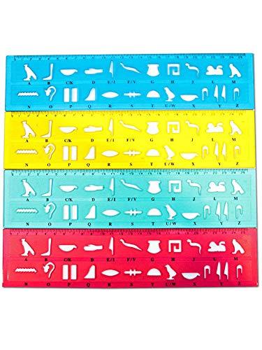 Hieroglyphen sjablonen + liniaal set van 4 + gratis 4x papyrus bladwijzers - onze naam in Hieroglyphen schrijven - de heilige tekens uit Egypte