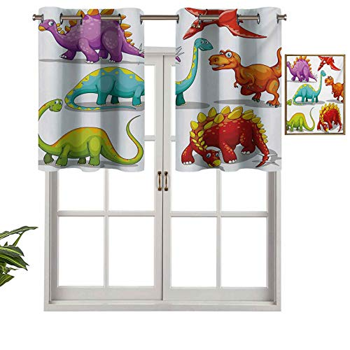 Hiiiman Fashion Design Valance Insulated Thermal Window Panel Colorful Funny Different Dino Collection Friendly Wildlife Extinct Animals Ice Age, Set of 1, 54'x18' for Kids Room