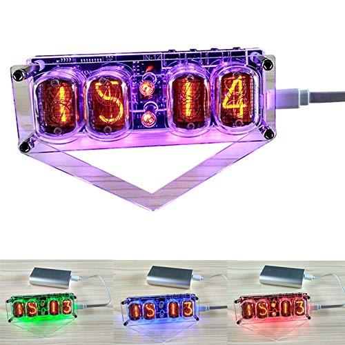 Enwebalay RöHrenuhr Nixie Led Bunte, Retro Nixie Tube Clock Fertiges Produkt, 4 Ziffern Digital Tube Clock Geschenk mit USB-Kabel, Geschenk füR Freunde, Kinder,with led