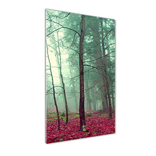 Tulup Impresión en Vidrio - 70x140cm - Cuadro sobre Vidrio - Pinturas en Vidrio - Cuadro en Vidrio - Impresiones sobre Vidrio - Cuadro de Cristal - Paisajes - Rojo - Bosque En Otoño