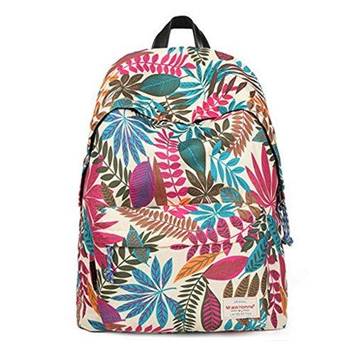 Durable Leaf Pattern School Bag Laptop Shoulder Bag Travel Backpack,White