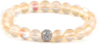 SUMMER LOVE 8 mm Mystic Glowing Mermaid Glass Bracelet Moonstone Beaded Stretch Bracelet with Zircon Crystal Beads