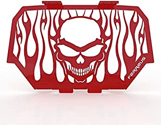 Skull Flame Red Powdercoat Radiator Cover Grille fits: 2014-2016 Polaris RZR 1000 - Ferreus Industries - GRL-147-09-Red-b