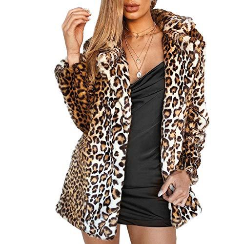 Women Warm Long Sleeve Parka Faux Fur Coat Overcoat Fluffy Top Jacket(Leopard,6)