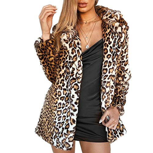 Women Warm Long Sleeve Parka Faux Fur Coat Overcoat Fluffy Top Jacket(Leopard,6)