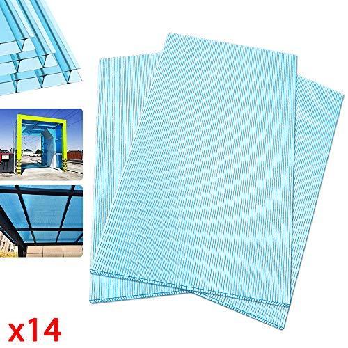 Ouhigher 14 Pcs Hohlkammerplatten Hohlkammerstegplatten Doppelstegplatten Blau transparente 4 mm stark Gewächshaus Platten 60,5 x 121 cm Ersatzteile für Garten Treibhaus Ersatzplatten 10,25 m²