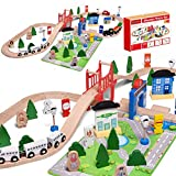 FUN LITTLE TOYS Wooden Train Track - 80 Pieces Wooden Railway Set for Toddlers, Boys and Girls 3, 4, 5 Years Old and Up, Premium Wood Construction Toys