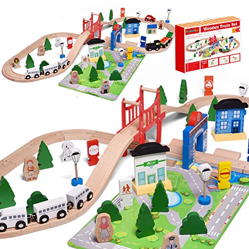 FUN LITTLE TOYS Wooden Train Track - 80 Pieces Wooden Railway Set for...