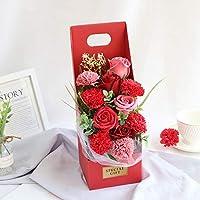 バラの石鹸の花のギフトのバレンタインデーのギフトの花束 バレンタイン・デー (Color : Red)