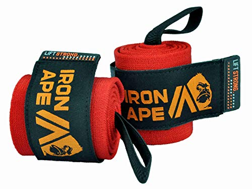 IRON APE Extra Stiff 18' Powerlifting Wrist Wraps for Weight Lifting, and Bodybuilding. New Dual Thumb Loop Design, for Men and Women, Weightlifting Wrist Support